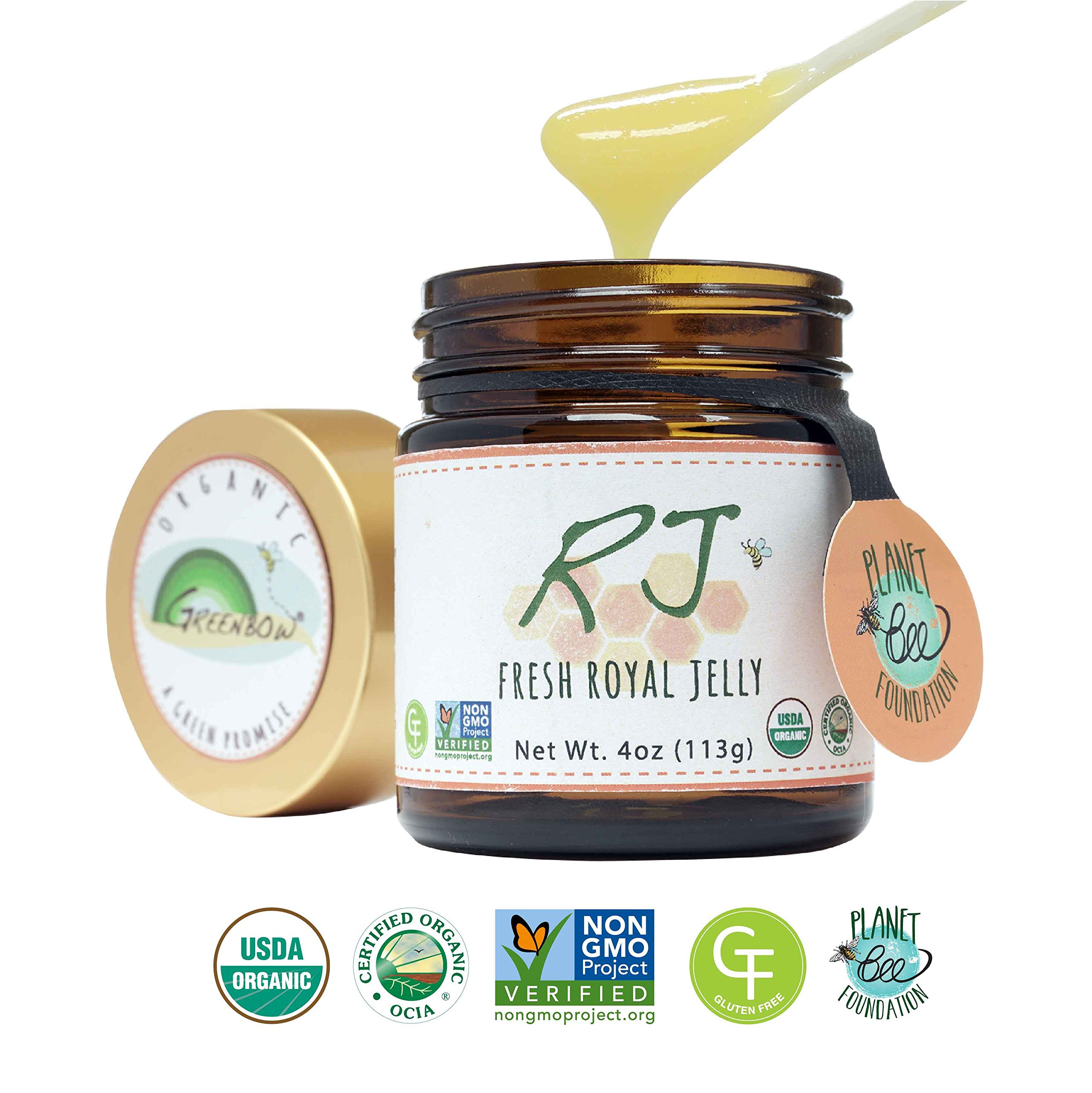 GREENBOW Organic Fresh Royal Jelly - 100% USDA Certified Organic, Pure, Gluten Free, Non-GMO Royal Jelly - One of the Most Nutrition Packed Diet Supplements - Highest Quality Royal Jelly - (113g) by Greenbow