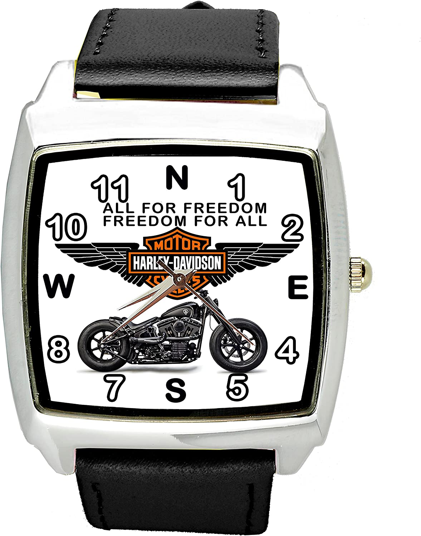 taport® Harley Davidson Motor Cuarzo Cuadrado Reloj Deportivo Negro Banda + Libre batería de Repuesto + Libre Bolsa de Regalo