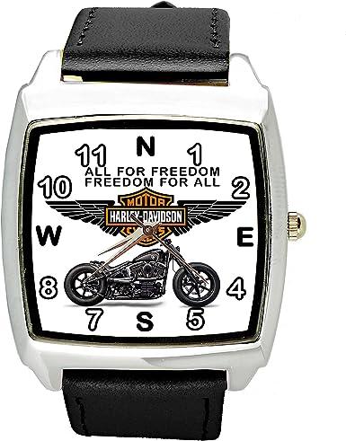 taport� Harley Davidson Motor Cuarzo Cuadrado Reloj Deportivo Negro Banda + Libre batería de Repuesto + Libre Bolsa de Regalo