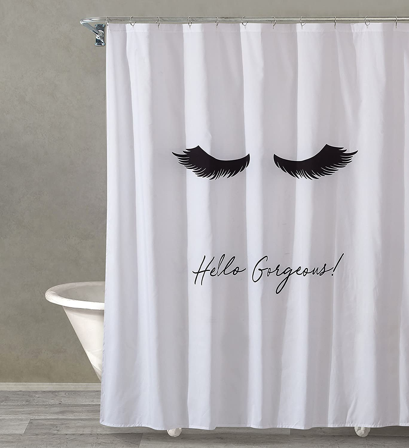 Style Quarters Lash Out Loud Shower Curtain Black Lashes And Script Hello Gorgeous On White Ground Polyester Buttonhole Machine Washable 1pc 72 W X 72 L Kitchen Dining