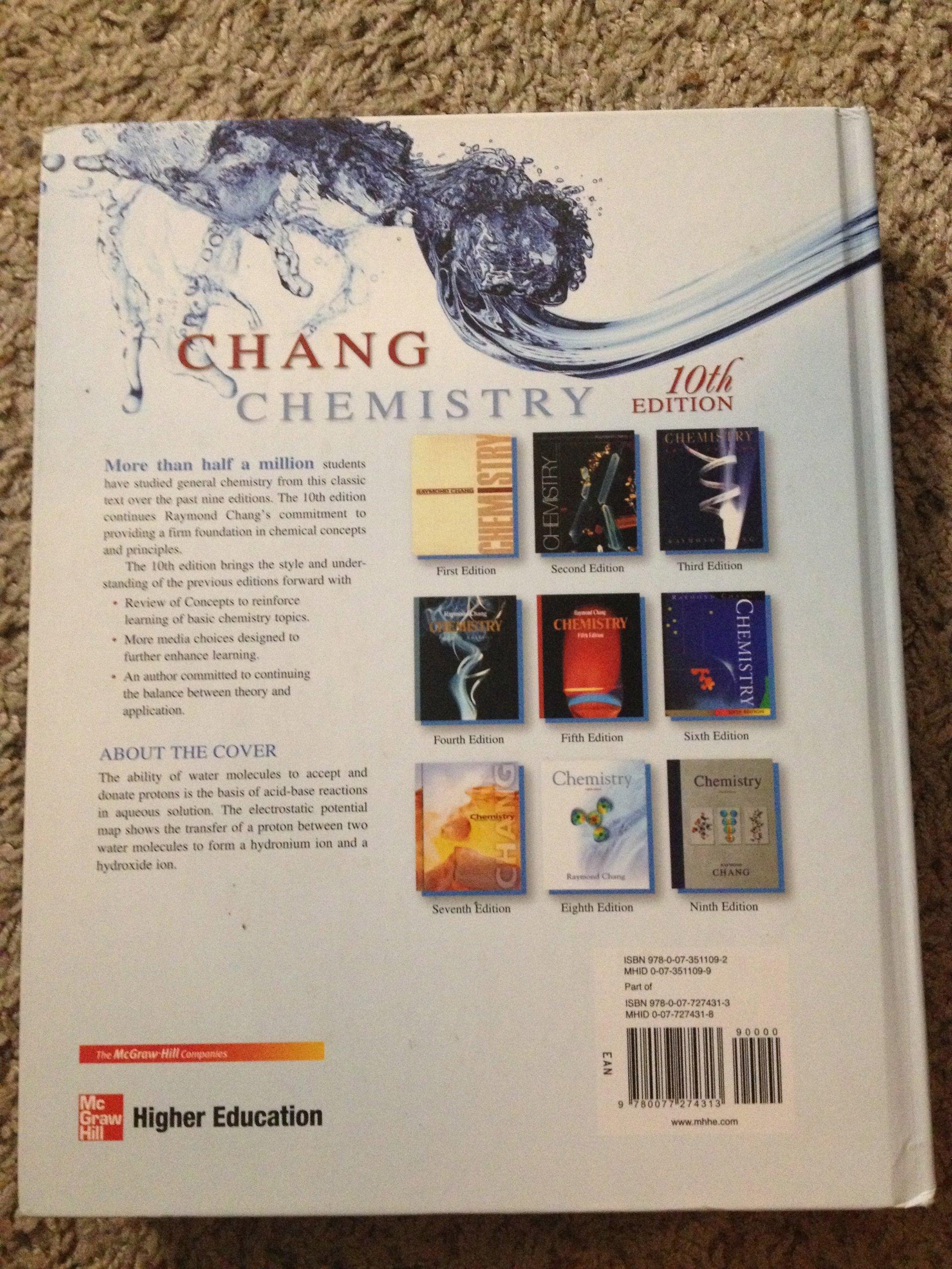 Chemistry 10th Edition (Chemistry 10th Edition): Raymond Chang:  9780077274313: Amazon.com: Books