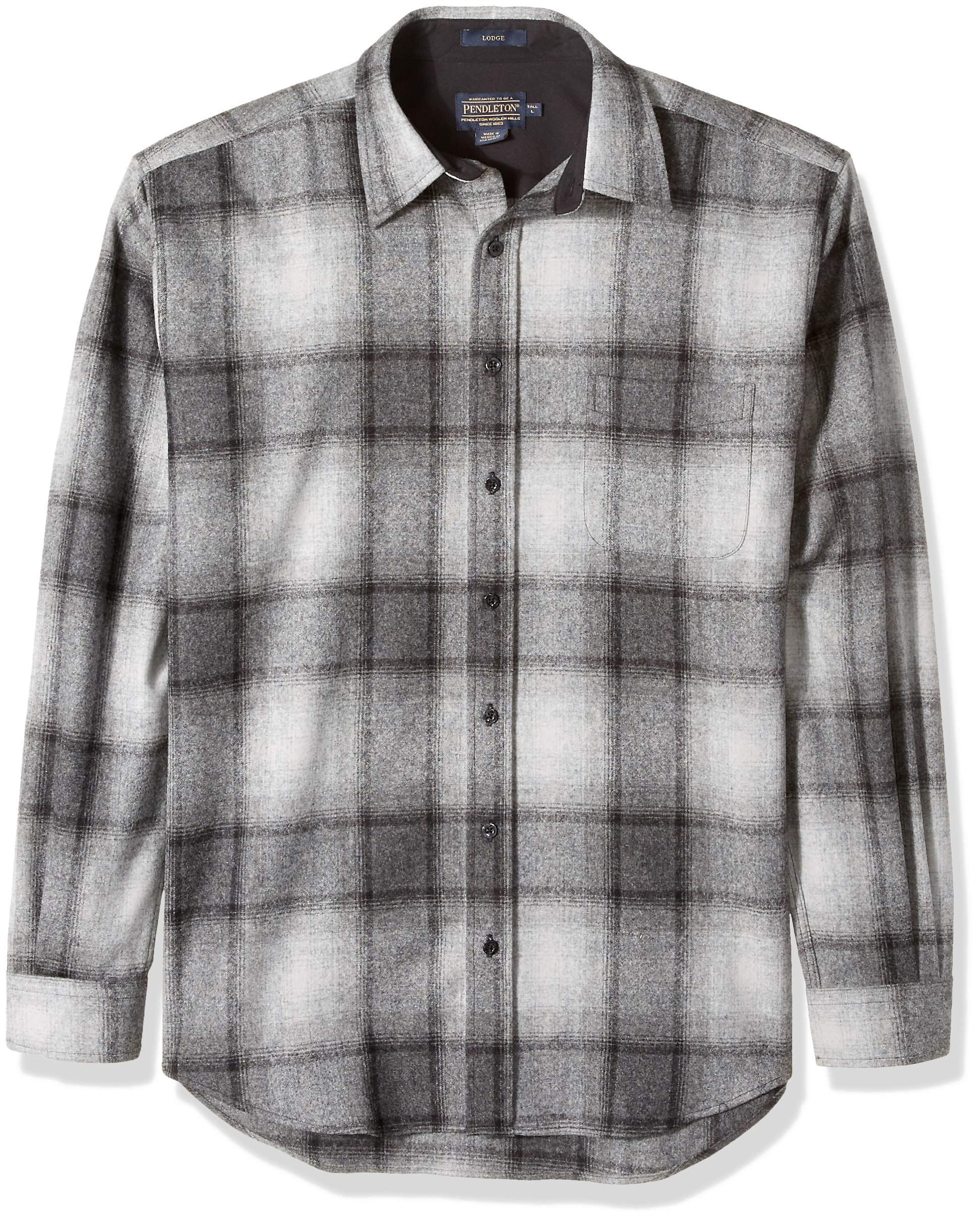 Pendleton Men's Size Long Sleeve Button Front Tall Lodge Shirt, Black/Grey Mix Ombre XL