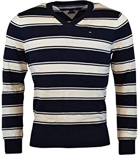 Tommy Hilfiger Men s V-Neck Long Sleeve Pacific Pullover Sweater at ... a25388f23a