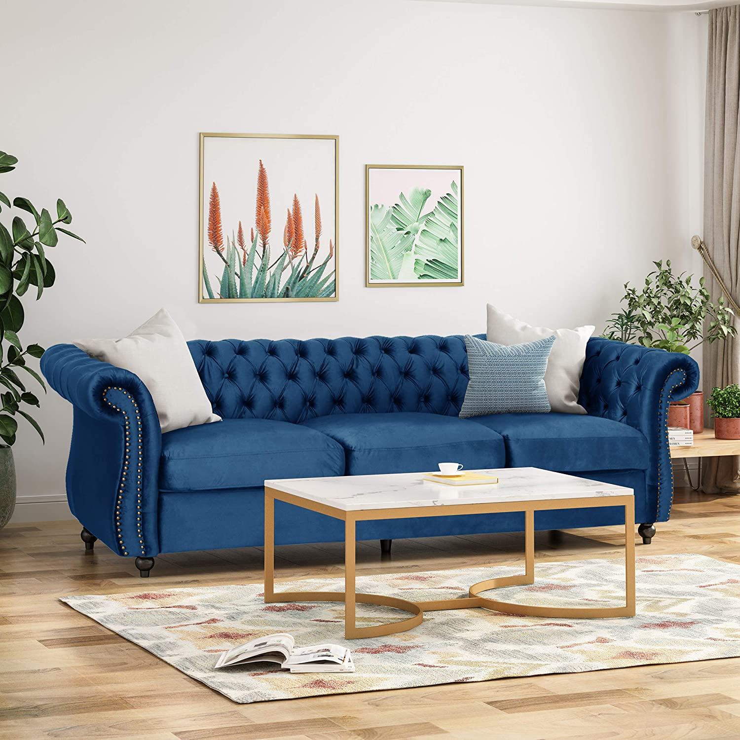 Tufted Jewel Toned Velvet Sofa with Scroll Arms, Navy Blue
