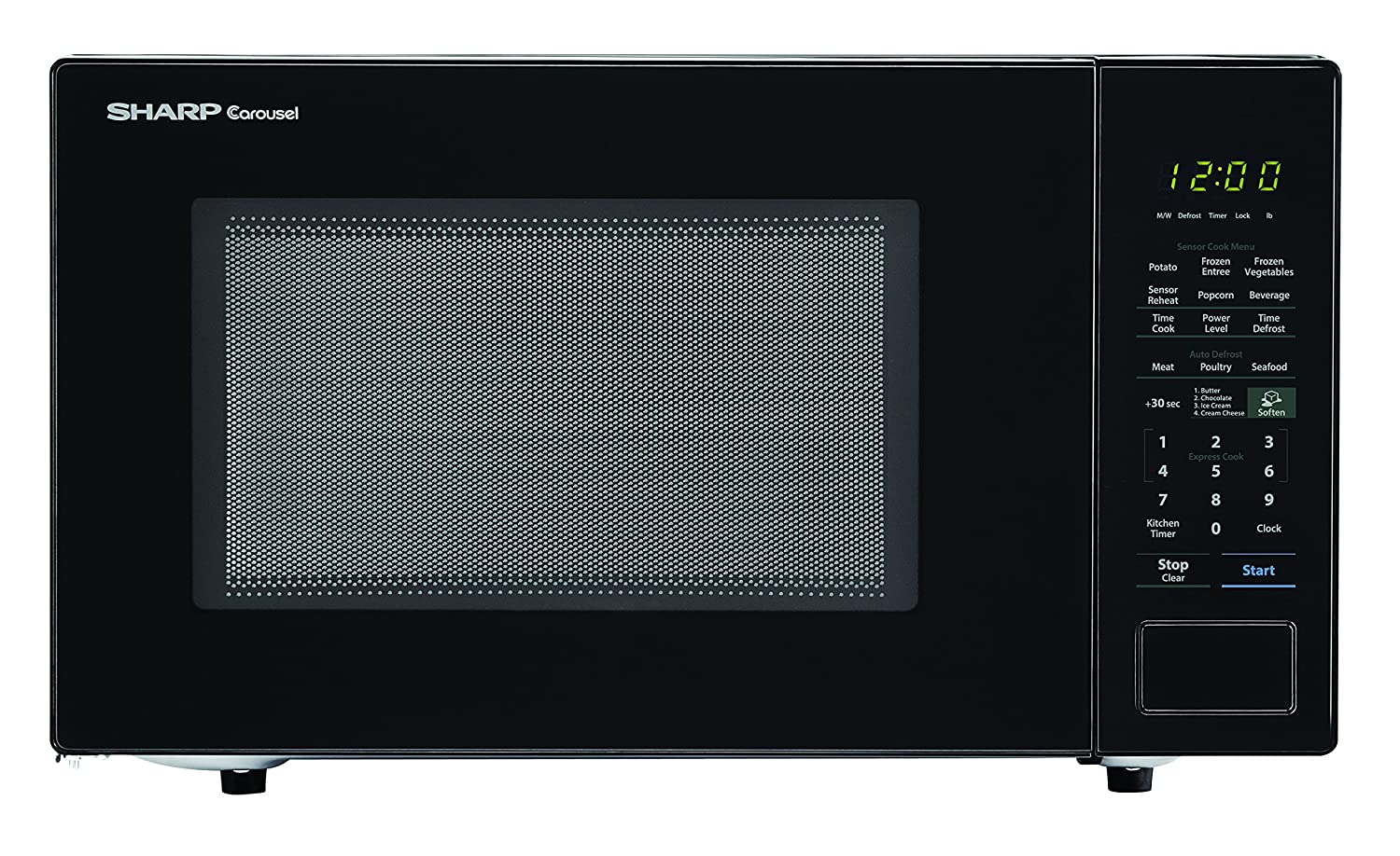 SHARP ZSMC1441CB Carousel 1.4 Cu. Ft. 1000W Countertop Microwave Oven in Black (ISTA 6 Packaging), Cubic Foot, 1000 Watts