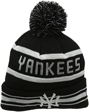 84f2c1750dcc82 New Era Ny Yankees Striped Bobble Knit Beanie, Black (Black), One Size