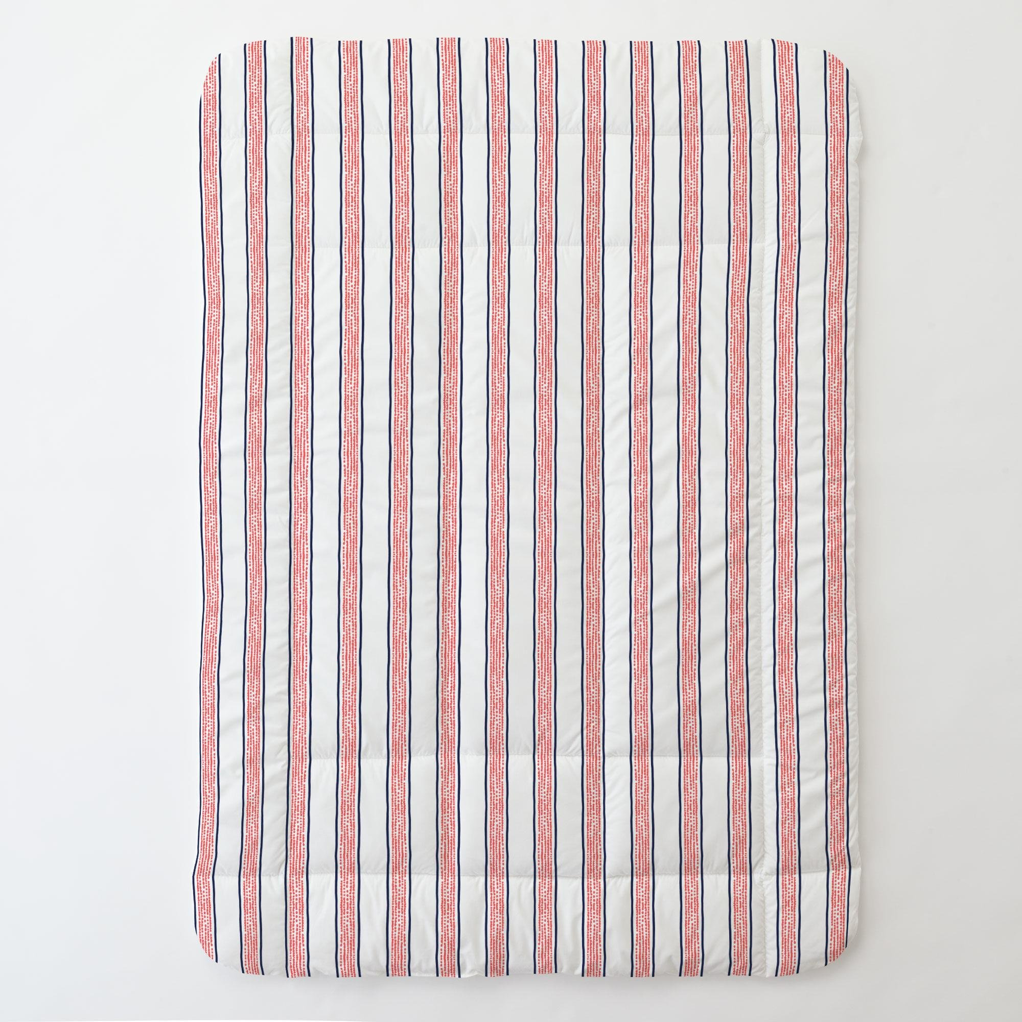 Carousel Designs Navy and Coral Beach Stripe Toddler Bed Comforter