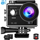4K Touchscreen Action Camera, JEEMAK 4K WiFi Waterproof Sports Camera with 2 Inch Touchscreen and 2 Pcs Rechargeable Batteries