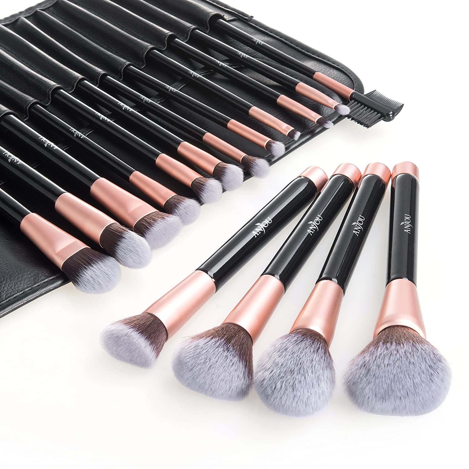 Makeup Brush Set, Anjou 16pcs Premium Cosmetic Makeup Brushes for Foundation Blending Blush Concealer Eye Shadow, Cruelty-Free Synthetic Fiber Bristles, PU Leather Roll Clutch Included, Rose Golden