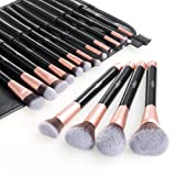 Anjou Make Up Pinsel Set 16pcs Professionelles rosegoldenes Schminkpinsel Kosmetikpinsel Lidschatten Gesichtspinsel Eyeliner mit elegantem Reiseetui aus PU-Leder