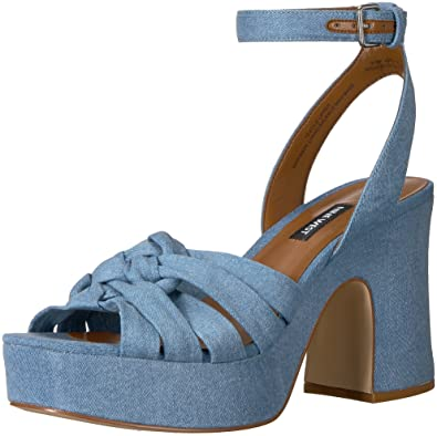 8c0acb746e47 Nine West Women s FETUCHINI Heeled Sandal Light Blue Denim 5 Medium US