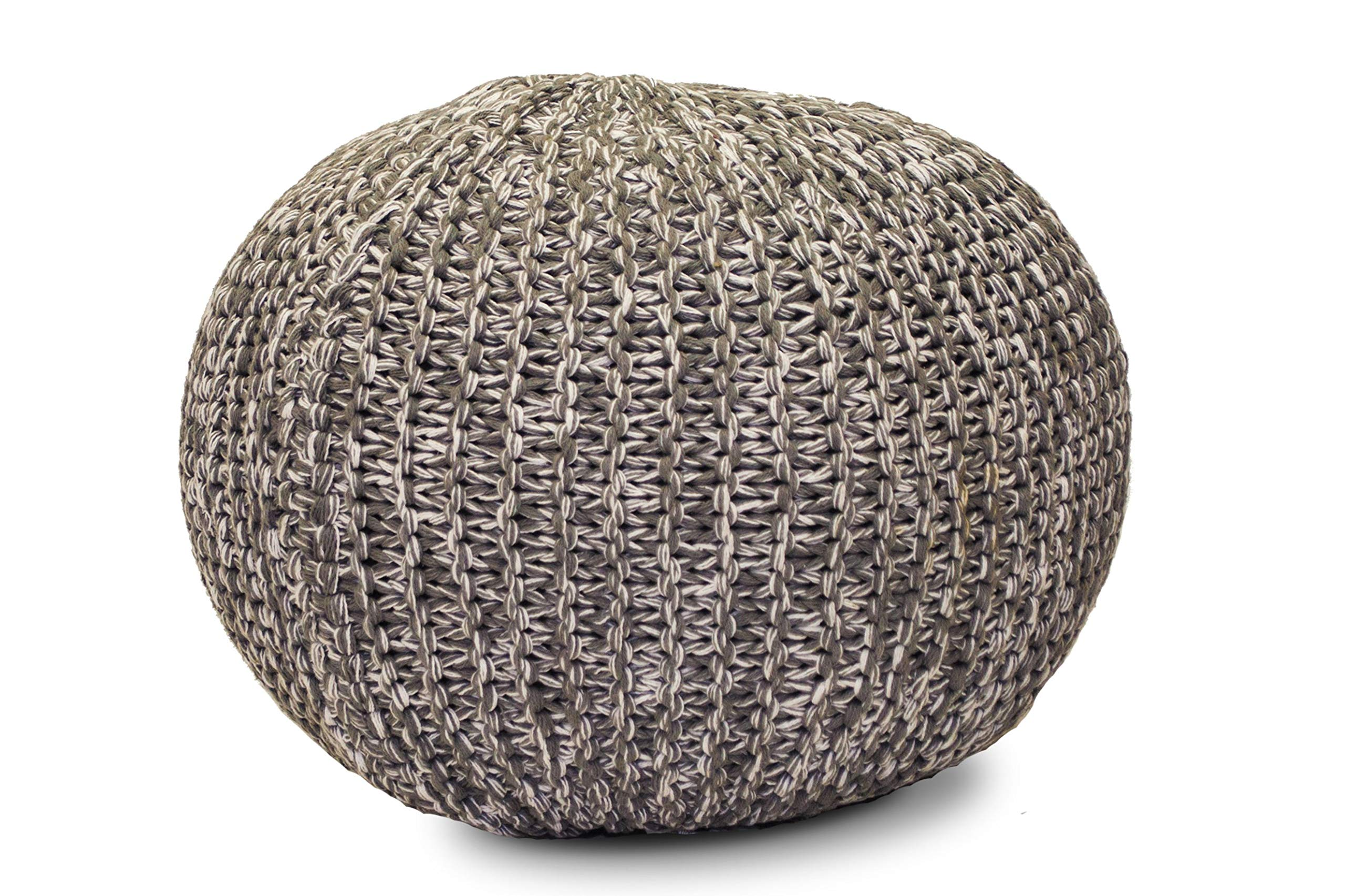 Gneral Woven Round FloorPouf Back White