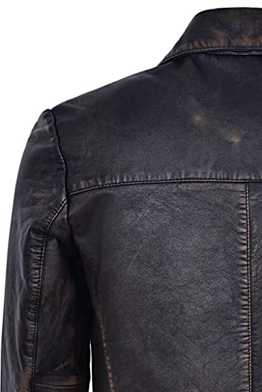 Mens Real Leather Coat Vintage Rub Off Knee Length Button Closure Blazer 3476-B at Amazon Mens Clothing store: