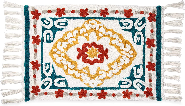 Peri Home Kilim Boho Decor 100% Cotton Bathroom Rug, Multi