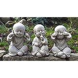 Onefold Lot de 3décorations de jardin en pierre composite en forme de bouddhas
