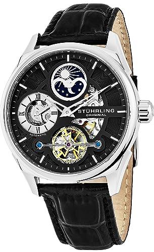 Reloj pulsera Stuhrling Original hombre auto-bobinado esqueleto de lujo doble tiempo tono oro 21
