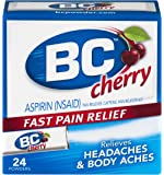 BC Aspirin Fast Pain Relief Powder - Quickly Relieves Pain Due to Headaches, Body Aches, and Fever - Contains Caffeine - Cherry Flavored - 24 Powders