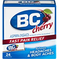 BC Aspirin Fast Pain Relief Powder | Relieves Headaches and Body Aches | Cherry Flavored | 24 Powders