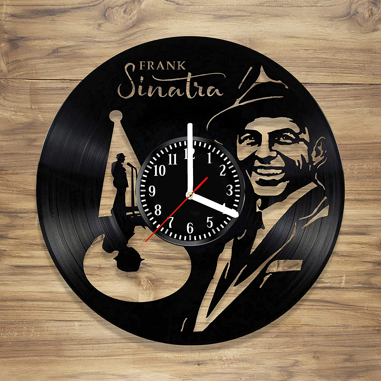 Frank Sinatra Vinyl Record Wall Clock Jazz Music Singer Artist Perfect Art Decorate Home Style Unique Gift idea for Him Her (12 inches)