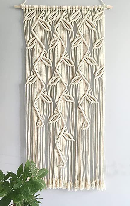 Macrame Leaves Design Wall Hanging Home Décor Woven Curtain Handmade  Tapestry Kicthen Window Curtain,19.5
