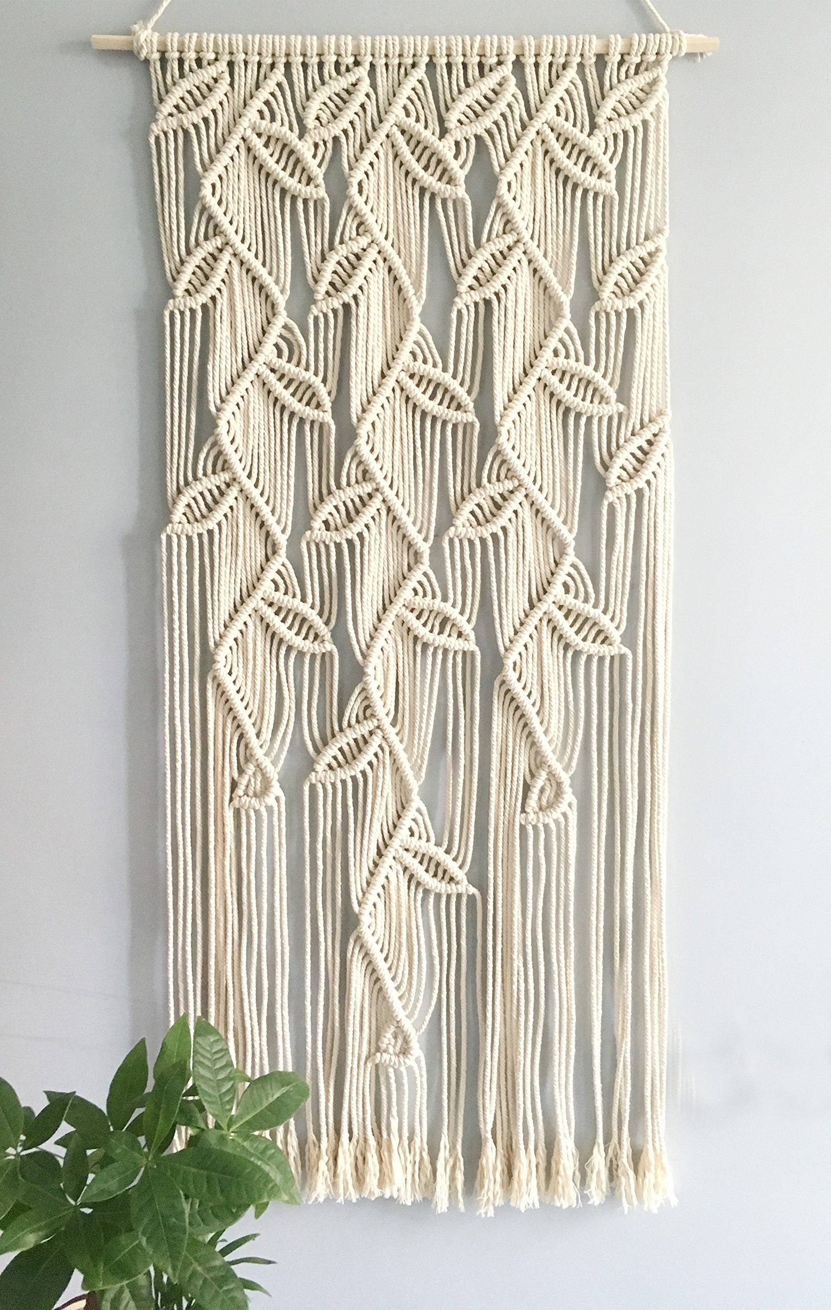 Macrame Leaves Design Wall Hanging Home Décor Woven Curtain Handmade Tapestry Kicthen Window Curtain,19.5 x 39 Inches Beige