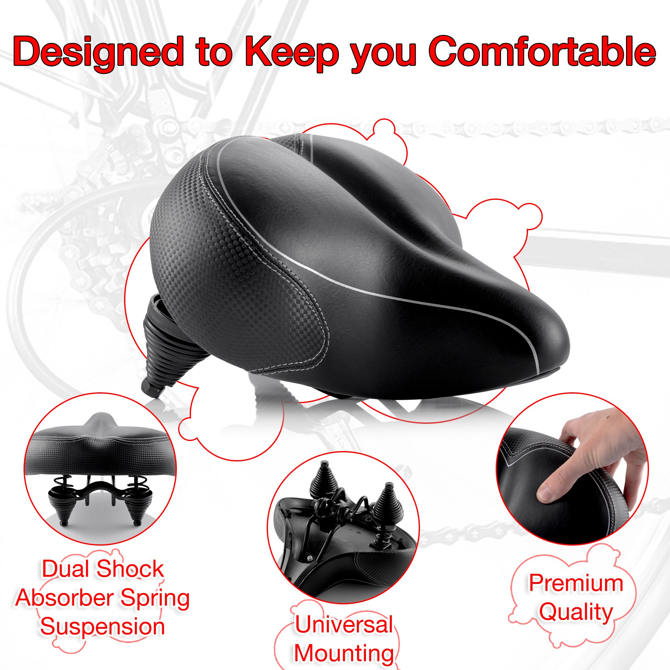 Oversized Comfort Bike Seat Most Comfortable Replacement Bicycle Saddle for Cycling | Universal Fit for Outdoor Exercise Bikes & Indoor Spin Bikes | Wide Soft Padded Bike Saddle For Women and Men by Asani (Image #2)