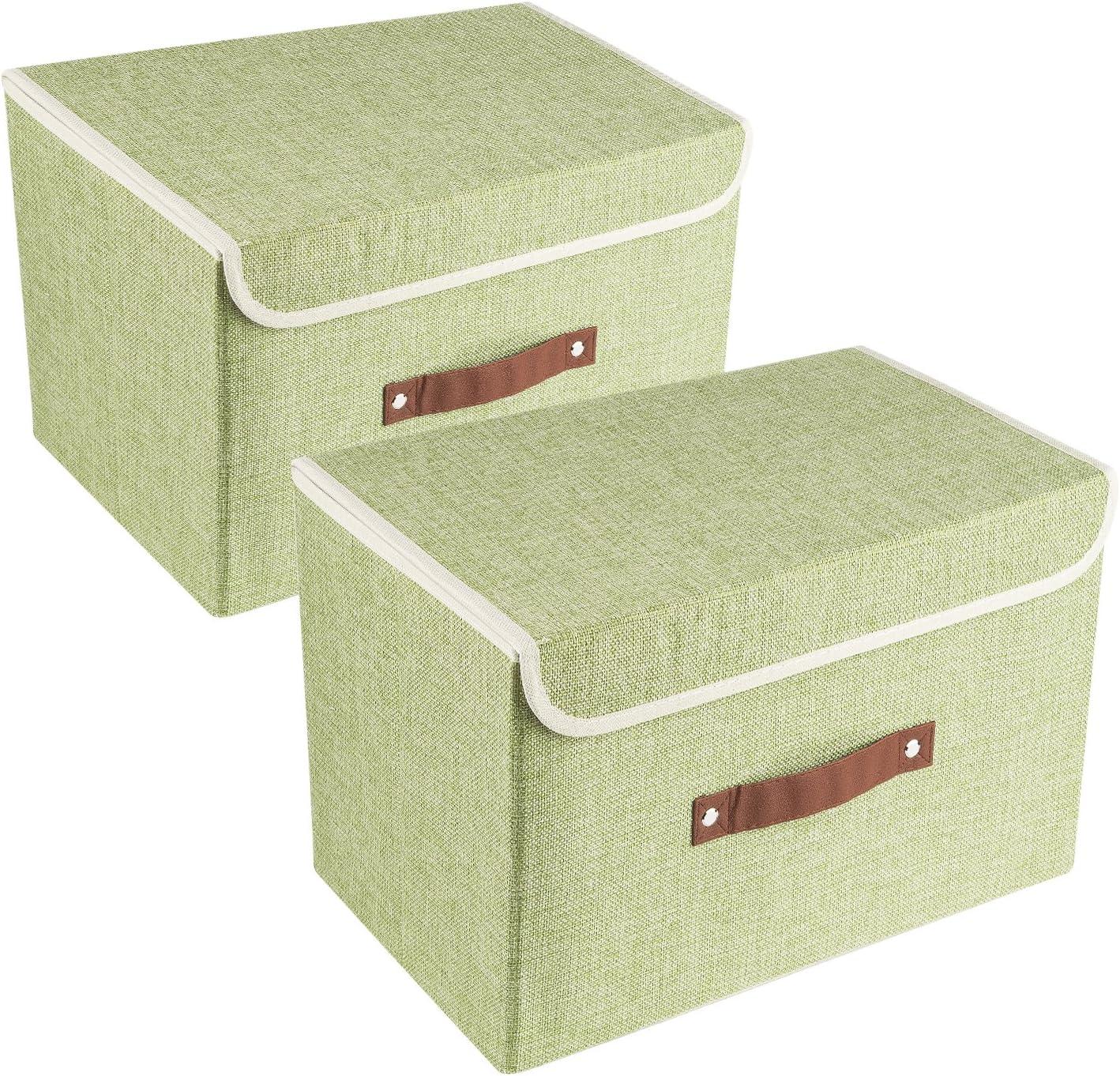 UMI. by Amazon 2 Cajas de Almacenamiento Plegables con Tapas, Cajas Organizadoras - Verde: Amazon.es: Hogar