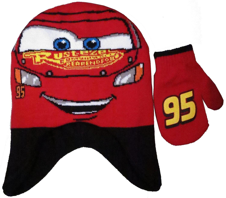 Beanie Cap - Disney - Cars McQueen Face w/Ears Hat & Mitten Set New 301337 BioWorld