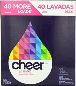 Cheer Powder Detergent Fresh Clean Scent 80 Loads 112 Oz