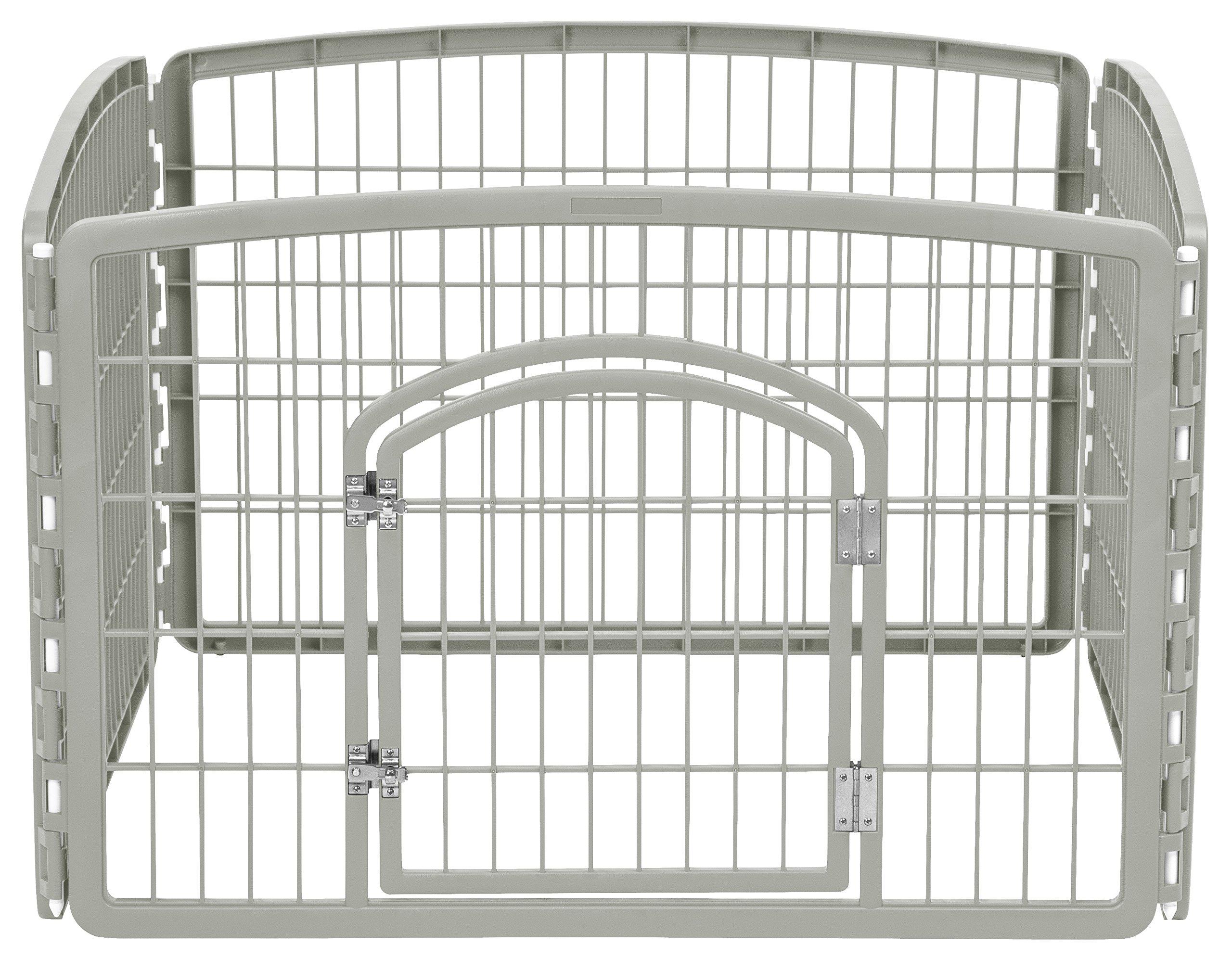 IRIS 24'' Exercise 4-Panel Pet Playpen with Door, Chrome