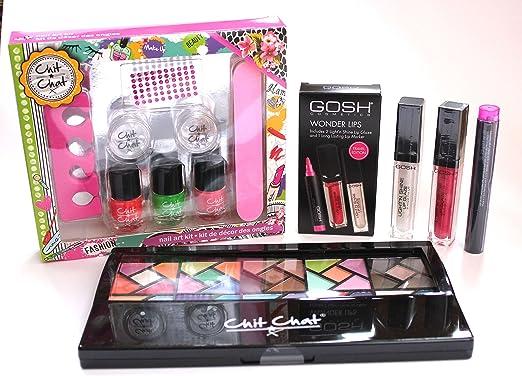 Kit completo de maquillaje y maniucura para adolescentes, con 4 artículos, incluye paleta de sombreas y gloss de labios: Amazon.es: Belleza