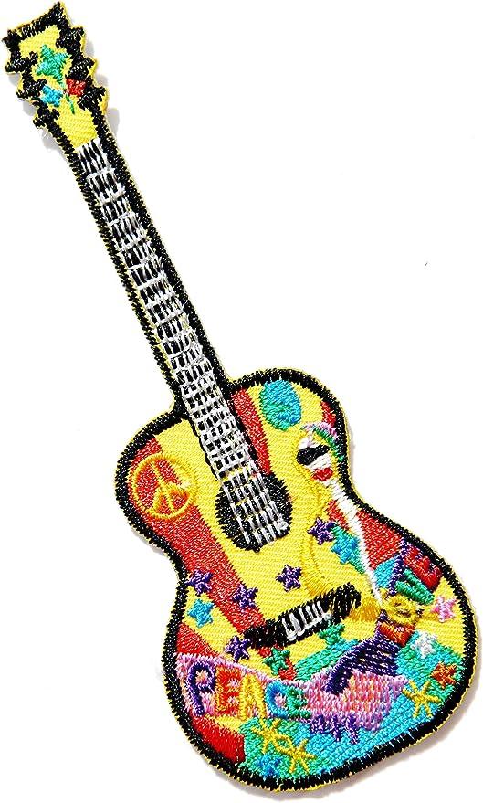 Parche bordado con diseño de guitarra, paz y amor, texto en inglés ...