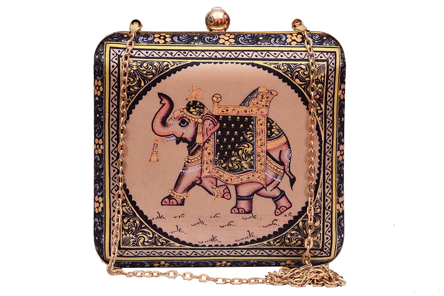 beautiful black clutch with golden work.