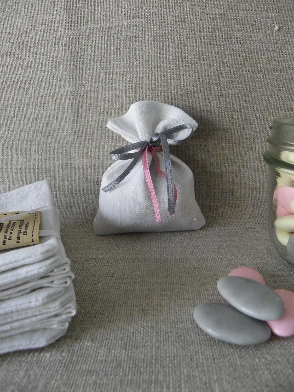 sacs à dragées sachets à dragées pochettes pochon LIN ancien BLANC (reflets gris) 7,5 x 10 cm SANS LIEN OU RUBAN cadeau invité à customiser à décorer pour baptême mariage communion LOT DE 10 sacs