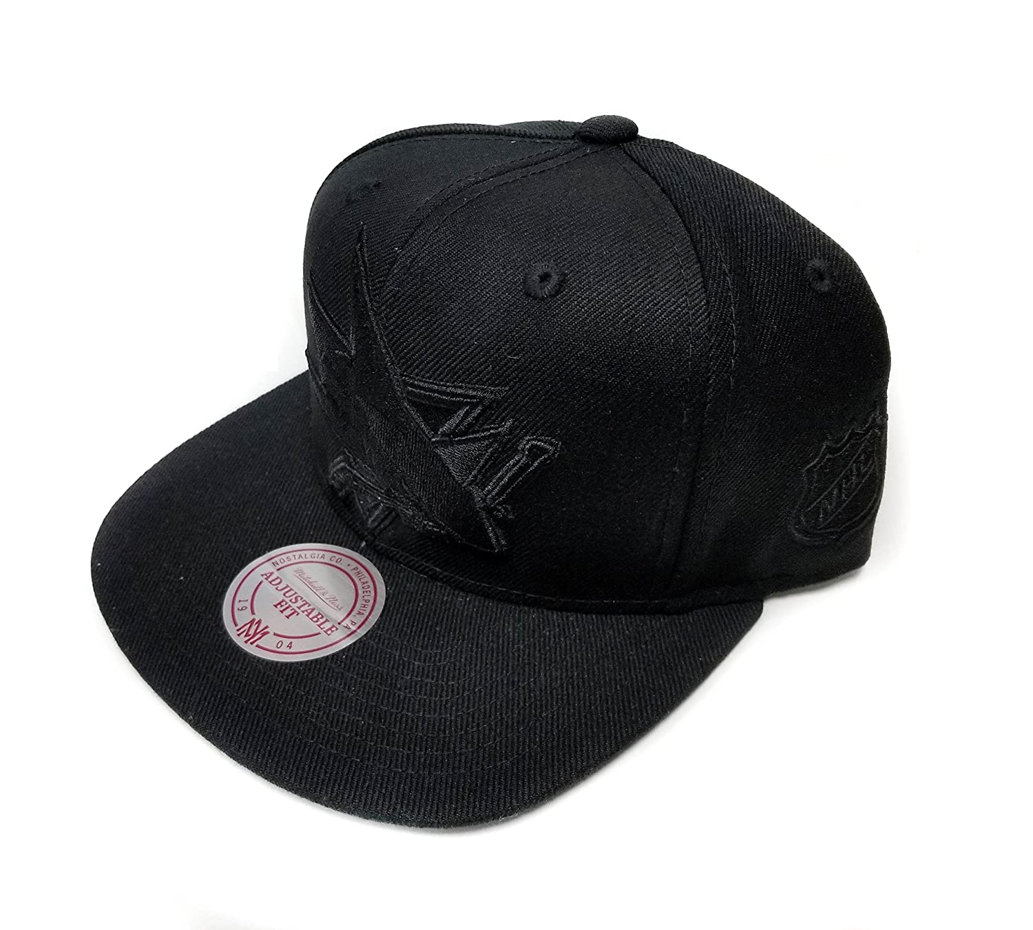 fbbe7cbf7 Mitchell & Ness San Jose Sharks Solid Wool Black & White Logo Vintage  Classic Adjustable Snapback Hat NHL