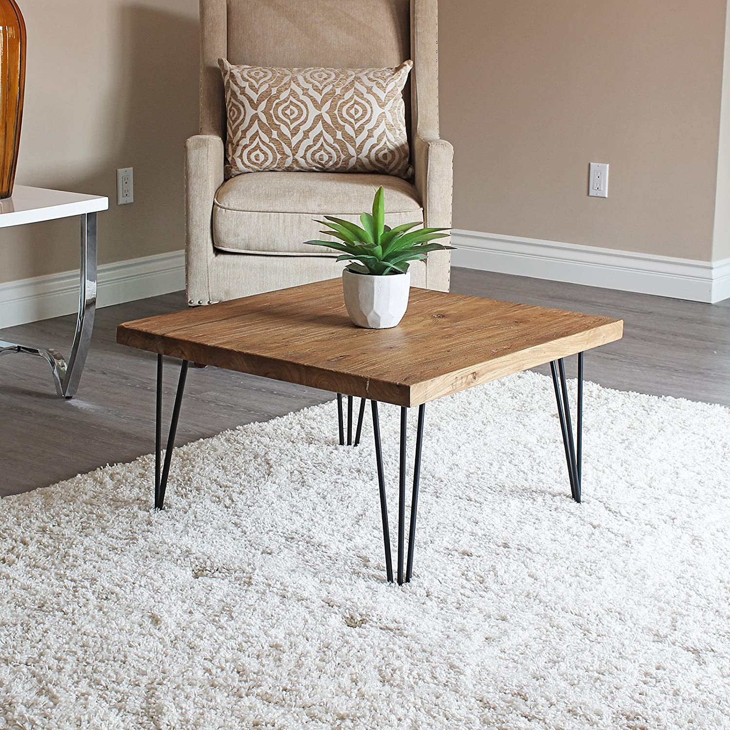 WELLAND Rustic Square Old Elm Coffee Table: Kitchen & Dining