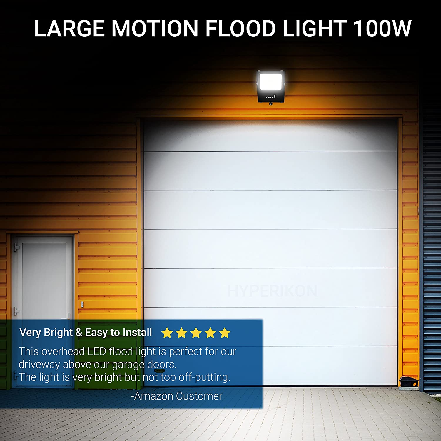 Hyperikon Outdoor Led Flood Light With Motion Sensor 100w 400w Wiring A Floodlight Equivalent 10000 Lumens 5000k Security 120v Ip65 Waterproof For