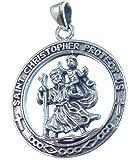Silber Anhänger, Christopherus, Schutzamulett für Reisende, 925 Sterling Silber,Versand innerhalb 24 Stunden !!!