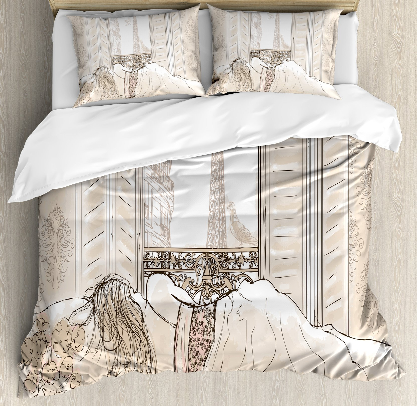 Paris Decor Duvet Cover Set by Ambesonne, Parisian Woman Sleeping with the View of Eiffiel Tower from Window Romance Skecthy Modern Art, 3 Piece Bedding Set with Pillow Shams, Queen / Full, Cream