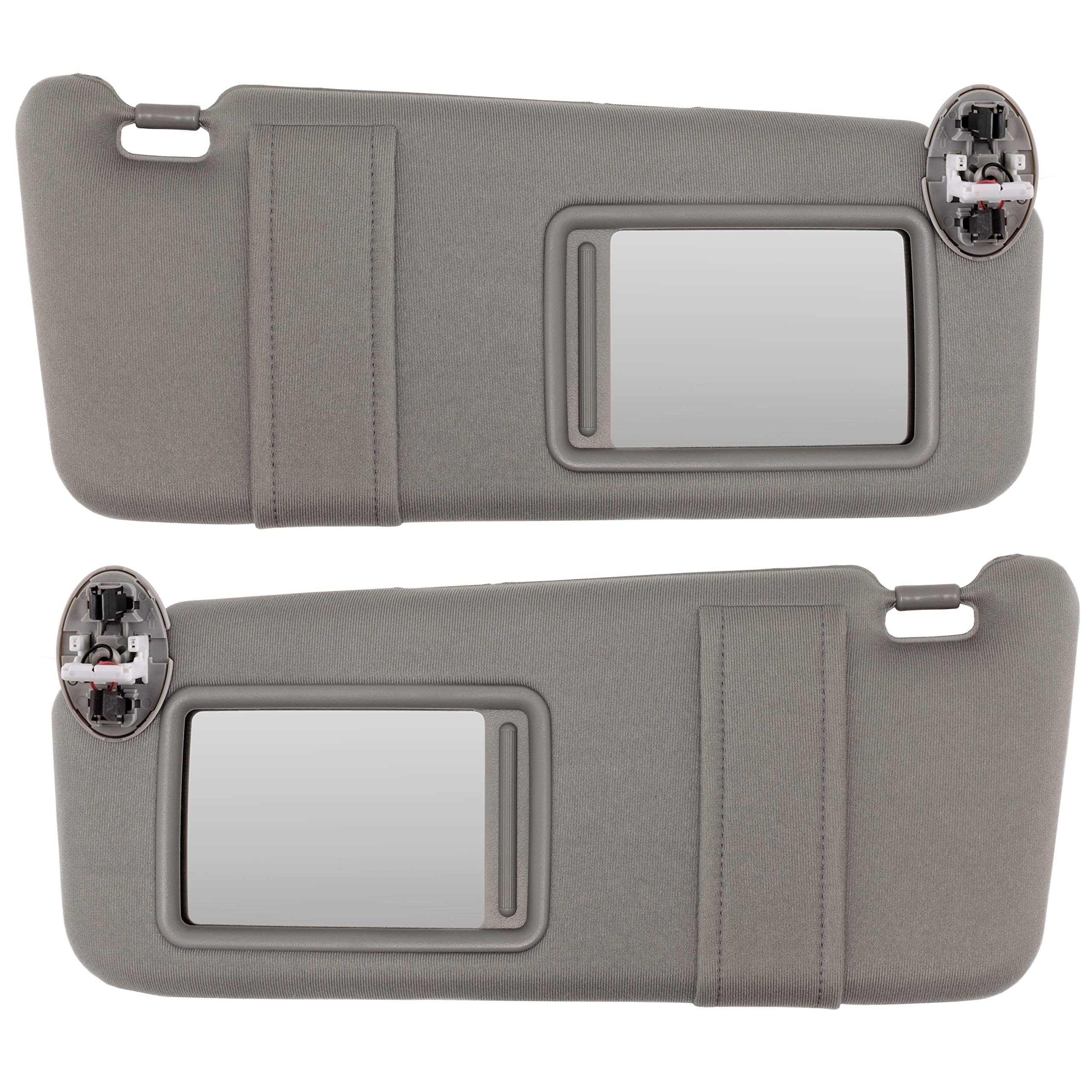 IAMAUTO 80922 New Sun Visor Left and Right Gray Pair for 2007-2011 Toyota Camry with Sunroof and Vanity Light in Ceiling (Set of Driver and Passenger Side Visors)