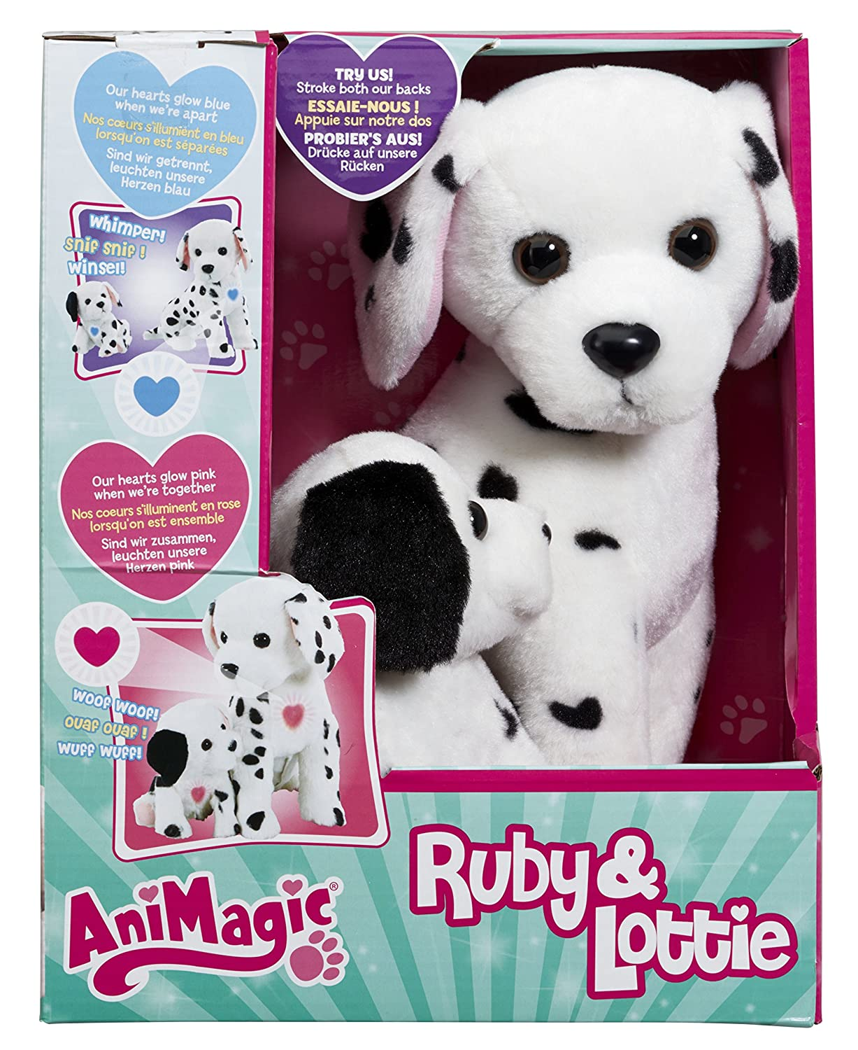 Vivid Imaginations Peluche interattivi Animagic Ruby & Lottie, mamma e cucciolo dalmata 31189.43
