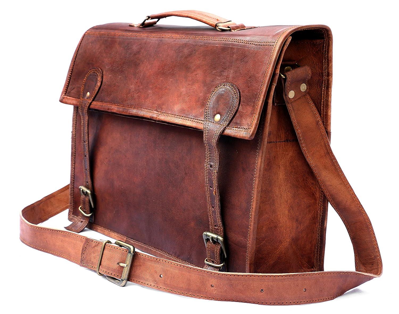 COOL STUFF 17 Grand Sac Homme Vintage cuir veritable pour ordinateur portable de 17 pouces sac Messenger Sac /à Bandouli/ère