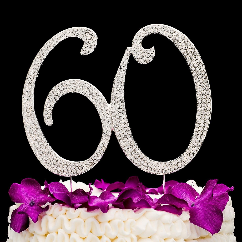 N/úmero 60 Decoraci/ón para torta Topper Plata 60 a/ños Fiesta de Cumplea/ños o de Aniversario Diamantes de imitaci/ón Pedrer/ía