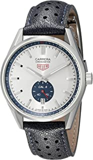 b966b7c4e86 TAG Heuer Men s  Carrera  Swiss Automatic Stainless Steel and Leather  Casual Watch