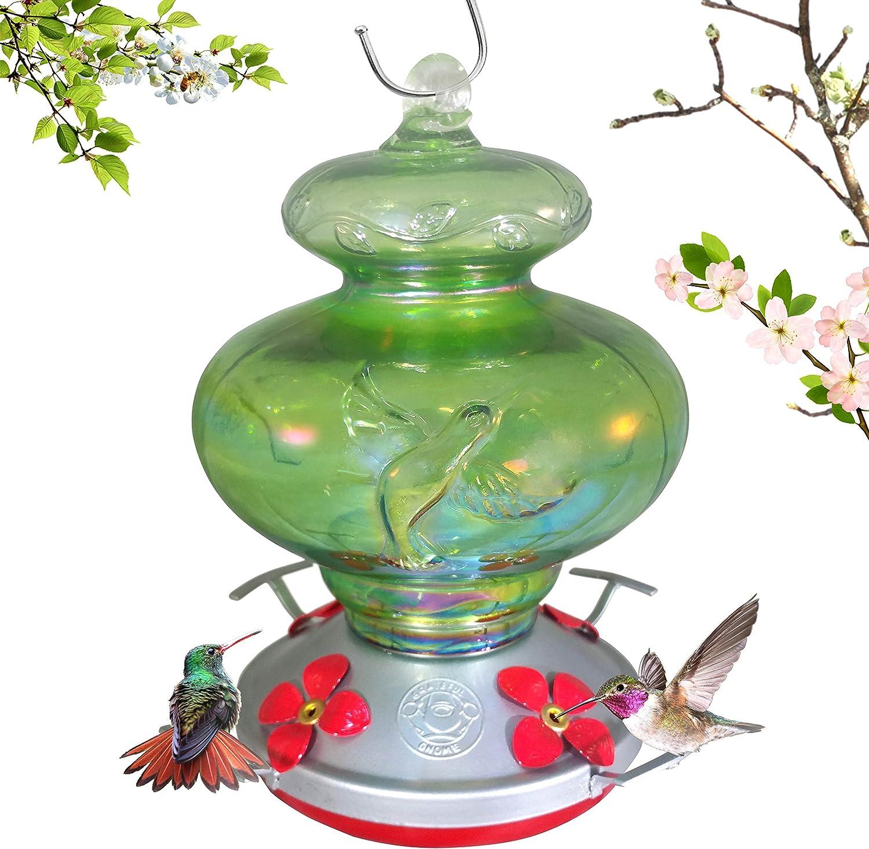Grateful Gnome - Hummingbird Feeder - Hand Blown Glass - Green Hummingbird 26 Fluid Ounce