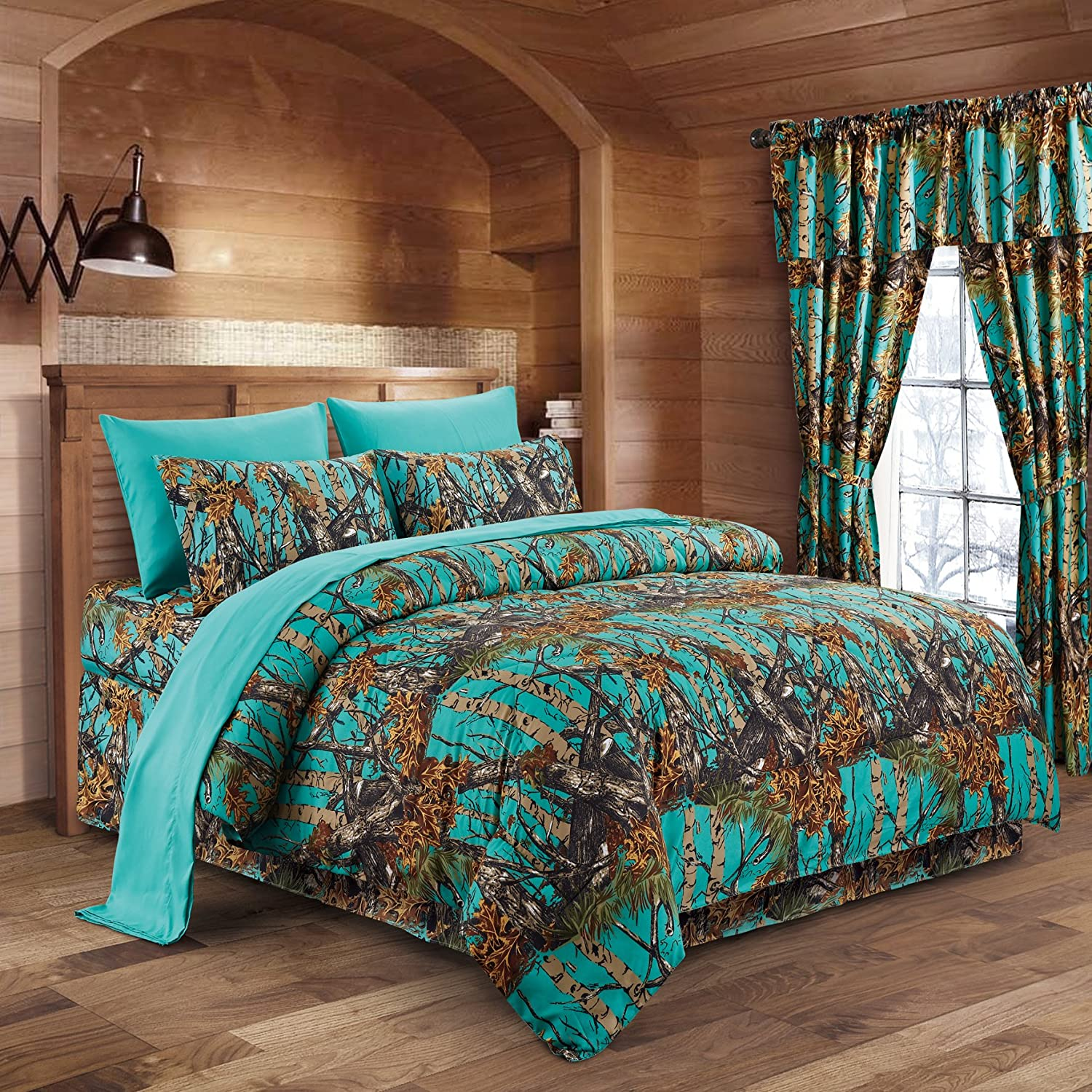 Teal Camouflage King 8pc Premium Luxury Comforter