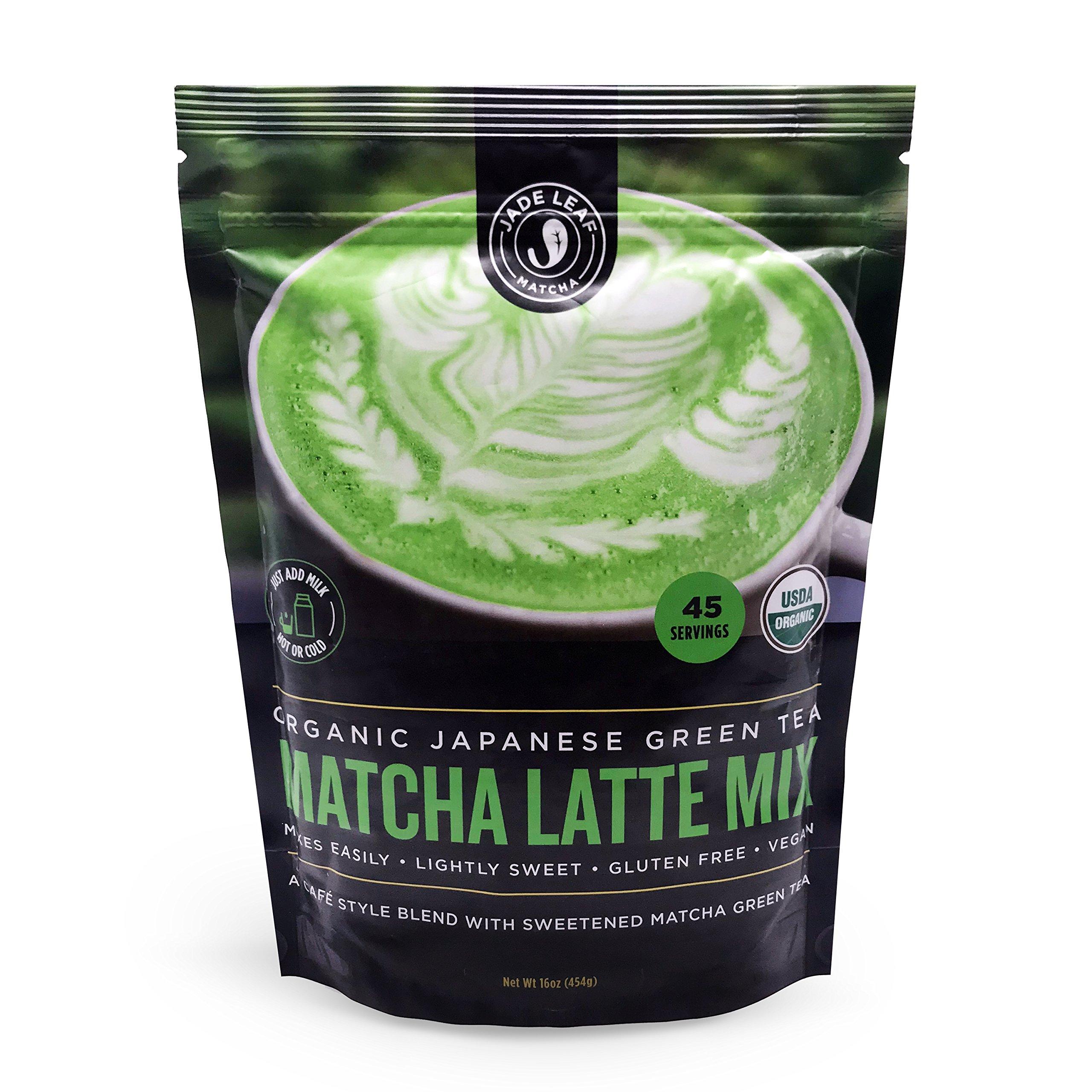 Jade Leaf - Organic Japanese Matcha Latte Mix - Cafe Style Sweetened Blend - Sweet Matcha Green Tea Powder [1lb Pouch] by Jade Leaf Matcha