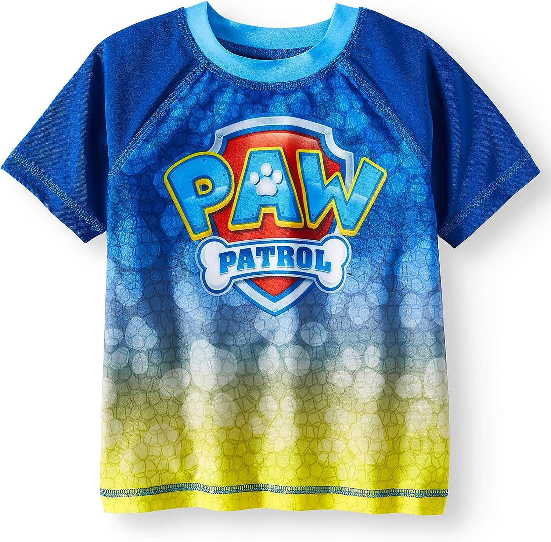 Chase Nickelodeon Paw Patrol Boys Rash Guard Swim Shirt /& Caped Towel Set Marshall