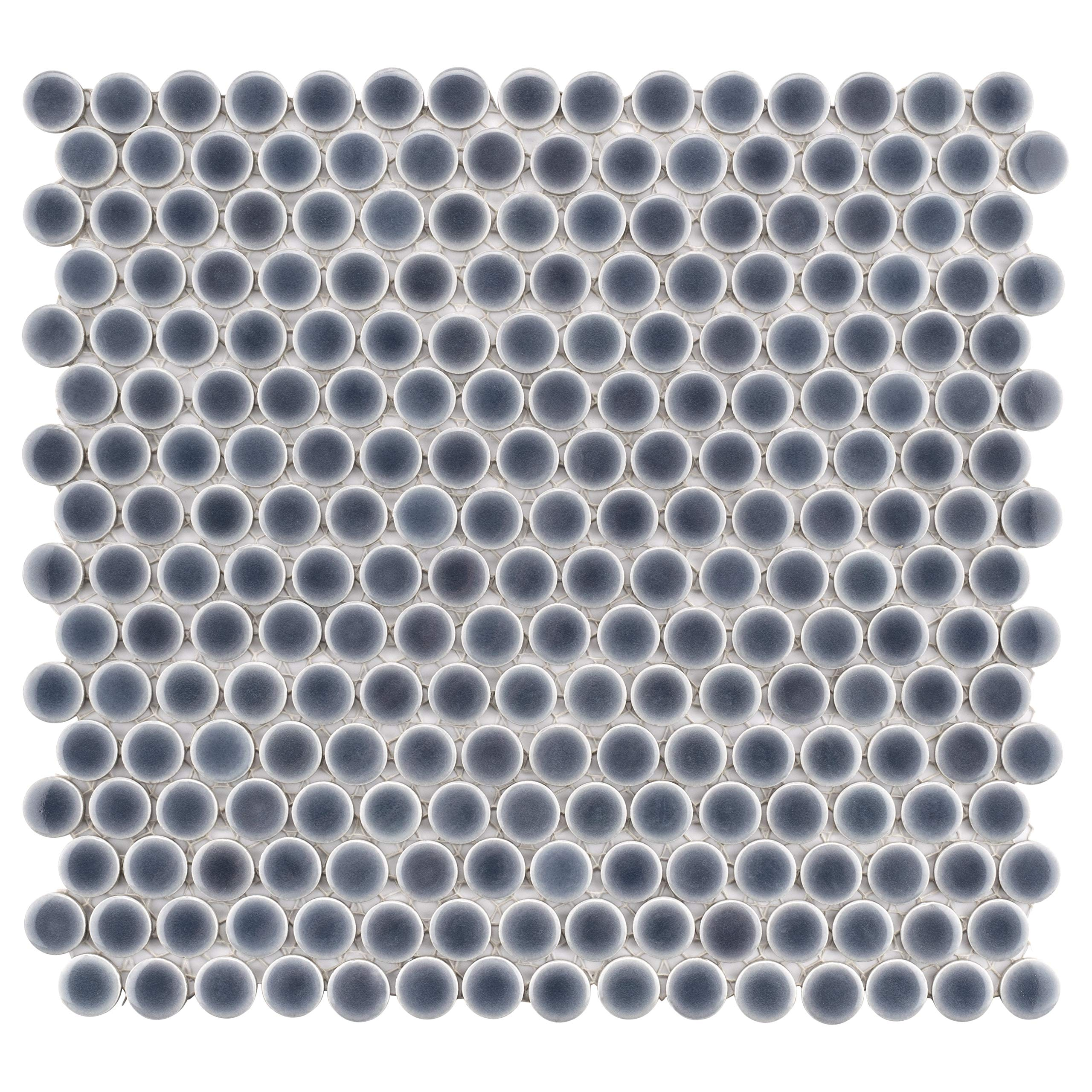 SomerTile FKOMPRG2 Penny Porcelain Mosaic Floor and Wall Tile, 12'' x 12.625'', Imperial Grey