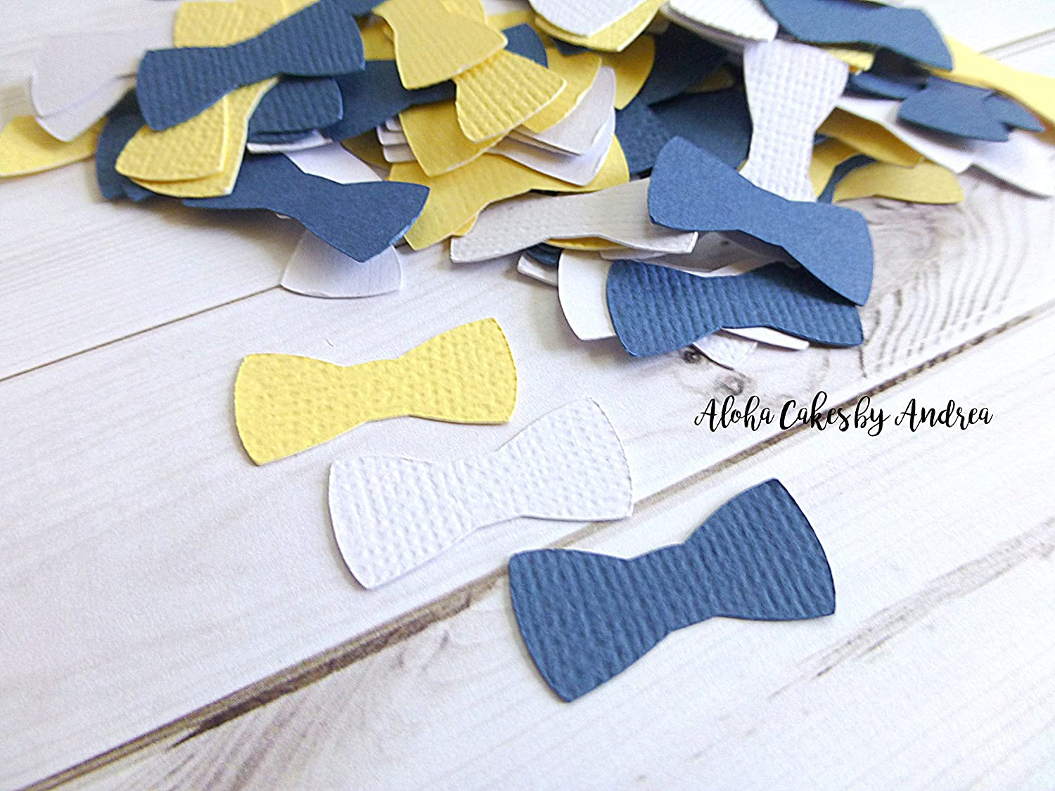 1 inch Bow Tie Confetti in Navy Blue, Yellow and White, Baby Shower Decorations, Table Confetti, Boy Birthday Party, package of 200